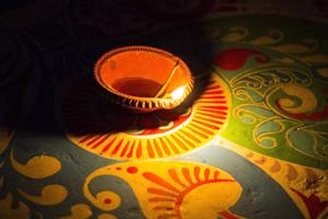 Diyas Decorated On Rangoli During Diwali